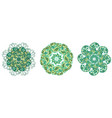 set of 3 circle pattern elements in green and vector image
