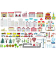 set of cartoon city map elements vector image