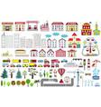 set of cartoon city map elements vector image