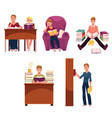 set of people reading books studying in library vector image vector image