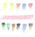 set watercolor hand drawn brush blobs white vector image