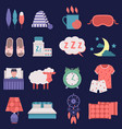 sleep nignt time related icons set vector image