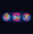sports bar collection of logos in neon style set vector image vector image