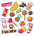 Sweets Food Candies Stickers Patches Badges vector image vector image