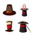 top hat icon set cartoon style vector image vector image