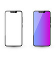 two modern smartphone mockups with white screen vector image
