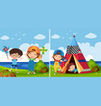 two park scenes with kids playing vector image vector image