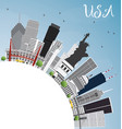 usa skyline with gray skyscrapers landmarks and vector image vector image