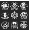 White Vintage Sailor Emblem Set vector image