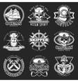 White Vintage Sailor Emblem Set vector image vector image