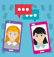 womens chatting with smartphone vector image