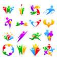 abstract people teams group body silhouette shapes vector image