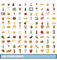 100 food icons set cartoon style vector image vector image