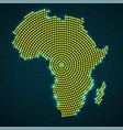 abstract africa map of glowing radial dots vector image