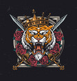 aggressive tiger head in royal crown vector image
