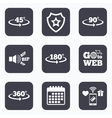Angle degrees icons Geometry math signs vector image vector image