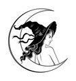 beautiful brunette witch in pointy hat line art vector image vector image