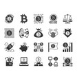 bitcoin black silhouette icons set vector image vector image