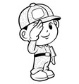 black and white soldier mascot military salute vector image
