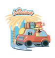 car with suitcases travel vacations vector image