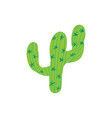 cartoon hand-drawn green cactus doodle with thorns vector image