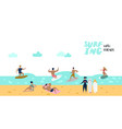 characters people surfing at beach poster vector image vector image