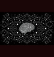 conceptual polygonal brain with hud elements vector image vector image
