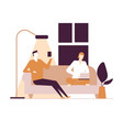 couple at home - flat design style colorful vector image vector image