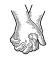 couple in love hold hands sketch engraving vector image