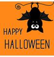 Cute bat Happy Halloween card vector image