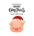 fat little pig with christmas santa red cap vector image vector image