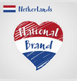 flag heart of netherlands national brand vector image