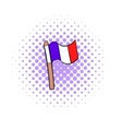 Flag of France icon in comics style vector image