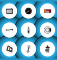 flat icon parts set of conrod headlight metal vector image vector image