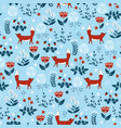 forest seamless pattern with cute little foxes vector image