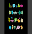 funny and scary bacteria characters isolated on vector image vector image