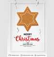 gingerbread star cookie and text on light banner vector image vector image