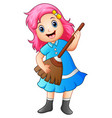 girl playing broom and singing vector image