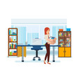 girl takes her things an office building vector image vector image