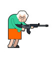 grandmother and gun evil grandma gangster with vector image vector image