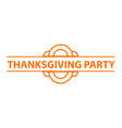 happy thanksgiving party logo simple style vector image