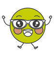 happy with glasses emoticon face character icon vector image vector image