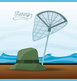 hat and net fishing vector image vector image
