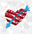 heart ribbon with arrow vector image vector image