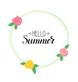 hello summer handwritten text and picture vector image