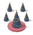 isometric low poly christmas tree vector image
