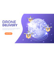 isometric web banner quadcopter or drone flying vector image