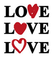 love text heart logo collection vector image vector image