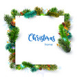luxurious christmas frame decorated with fir vector image