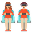 man and woman use virtual reality glasses with vector image